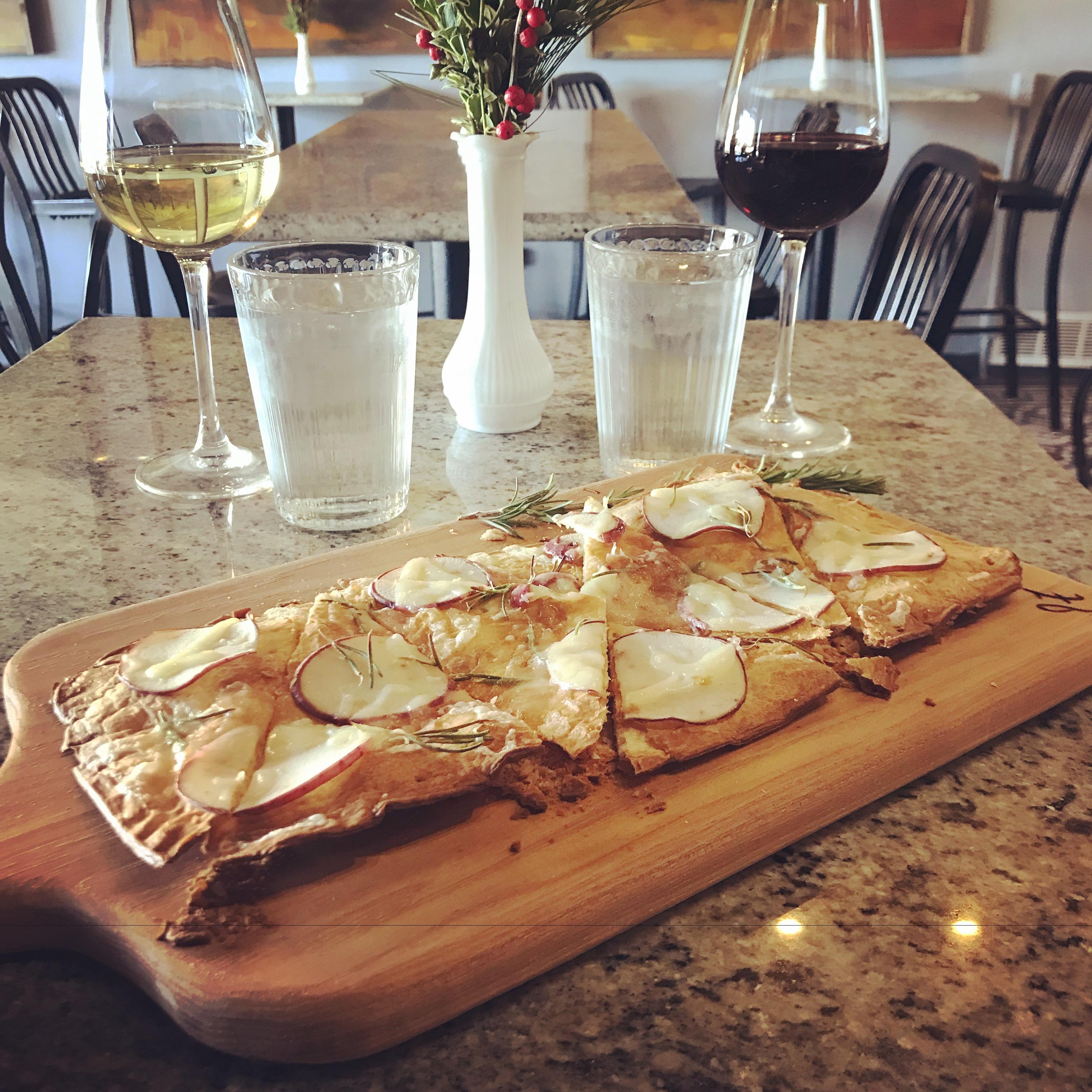 Potato, Rosemary and swiss cheese flatbread